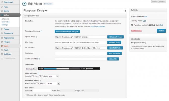 Flowplayer5 for WordPress