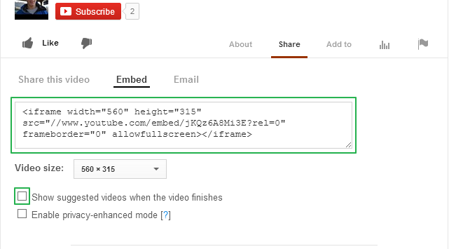 YouTube share settings